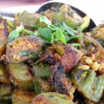 The okra masala, a vegetarian entree at Satkar, is well-seasoned with a blend of spices.