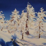 Maria Klawe is a painter, mathematician and scientist. Her painting, 'Snow, Trees and Shadows,' is one of many on display at the Community School of Music and Arts.