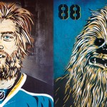 CHEWY ON ICE: Local skateboarder, artist and avid hockey fan reimagines Sharks forward Brent Burns as Chewbacca in his upcoming show at Seeing Things Gallery.