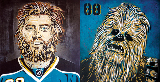 Blood Sweat and Teal Reimagines Sharks Players at Seeing Things Gallery