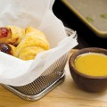 LITTLE PIGGIES: Small plates like pigs in a blanket a maze.