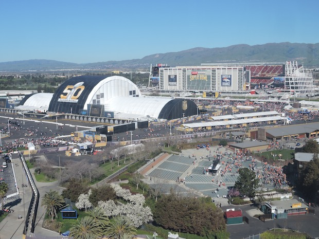 The view of Levi's Stadium and Super Bowl 50 from Great America's Star Tower. Photo by David Barclay.