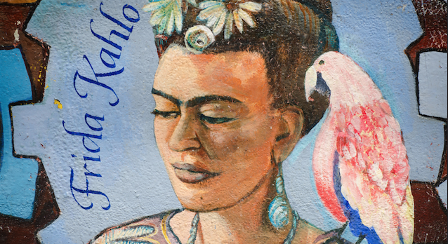 Frida Kahlo is admired by artist all over the world for her distinct aesthetic sensibilities. Mural by Franco Folini.