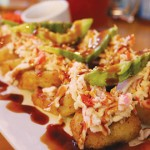 The Guamuchilito, comes with crab, cream cheese and avocado in the center, topped with tampico and more avocado.