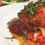 The eggplant parmesan offers a towering load at Turn Bar & Grill.