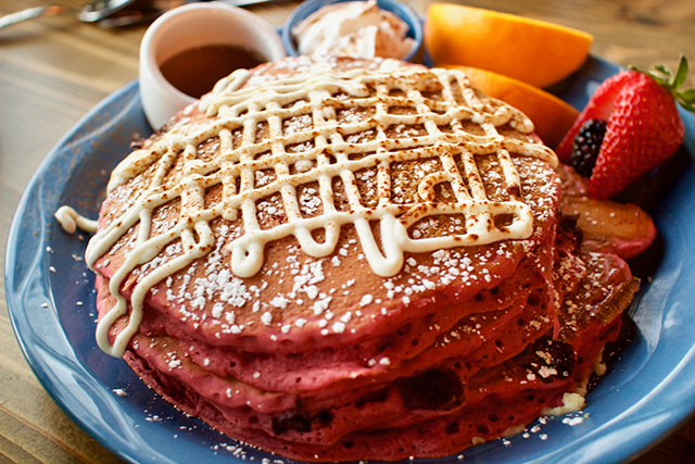The Breakfast Club lives up to its hallowed name with Red Velvet Pancakes. Photo by John Dyke