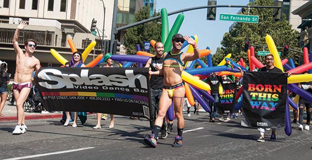 Gay pride parade palm springs california usa stock photo