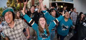 San Jose Sharks fans take over San Jose sports bars for 41 home games a year—but don't forget playoffs. Photo by Gary Singh