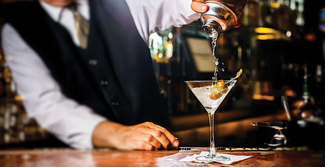 Sundance's dry vodka martini provides an ice-cold bath for its jumbo Spanish olives. Photo courtesy of Sundance The Steakhouse.