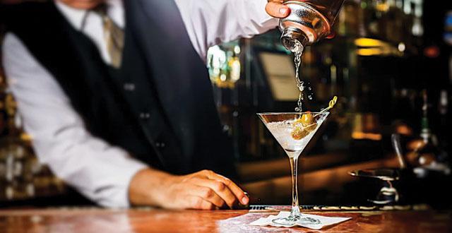 Sundance's dry vodka martini provides an ice-cold bath for its jumbo Spanish olives. Photo courtesy of Sundance The Steakhouse.