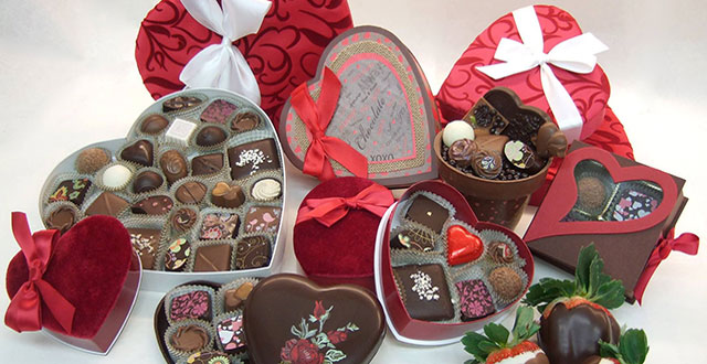 Instead of a flower arrangement, try a hand-picked collection of chocolates. Photo Courtesy of Chocolate Dream Box