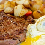 Those looking for lighter spring fare can look elsewhere; at the Mini Gourmet, traditional steak and eggs is where it's at. Photo by John Dyke