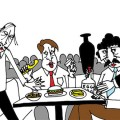 WISE GUYS: Leave the gun and take the cannoli at Original Joe's. Illustration by Mr. Harada