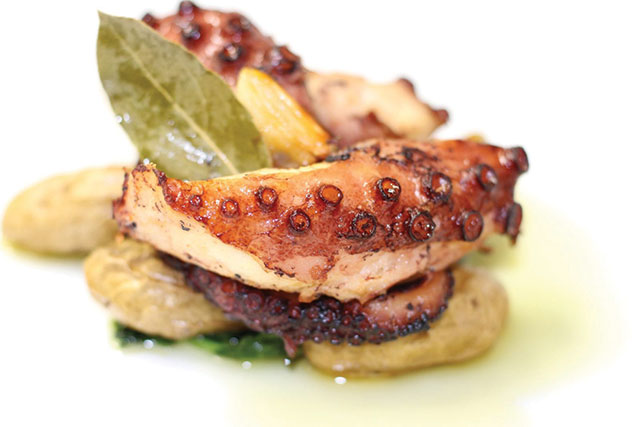 FRESH CATCH: The oven-roasted octopus at Adega in San Jose is delicious.